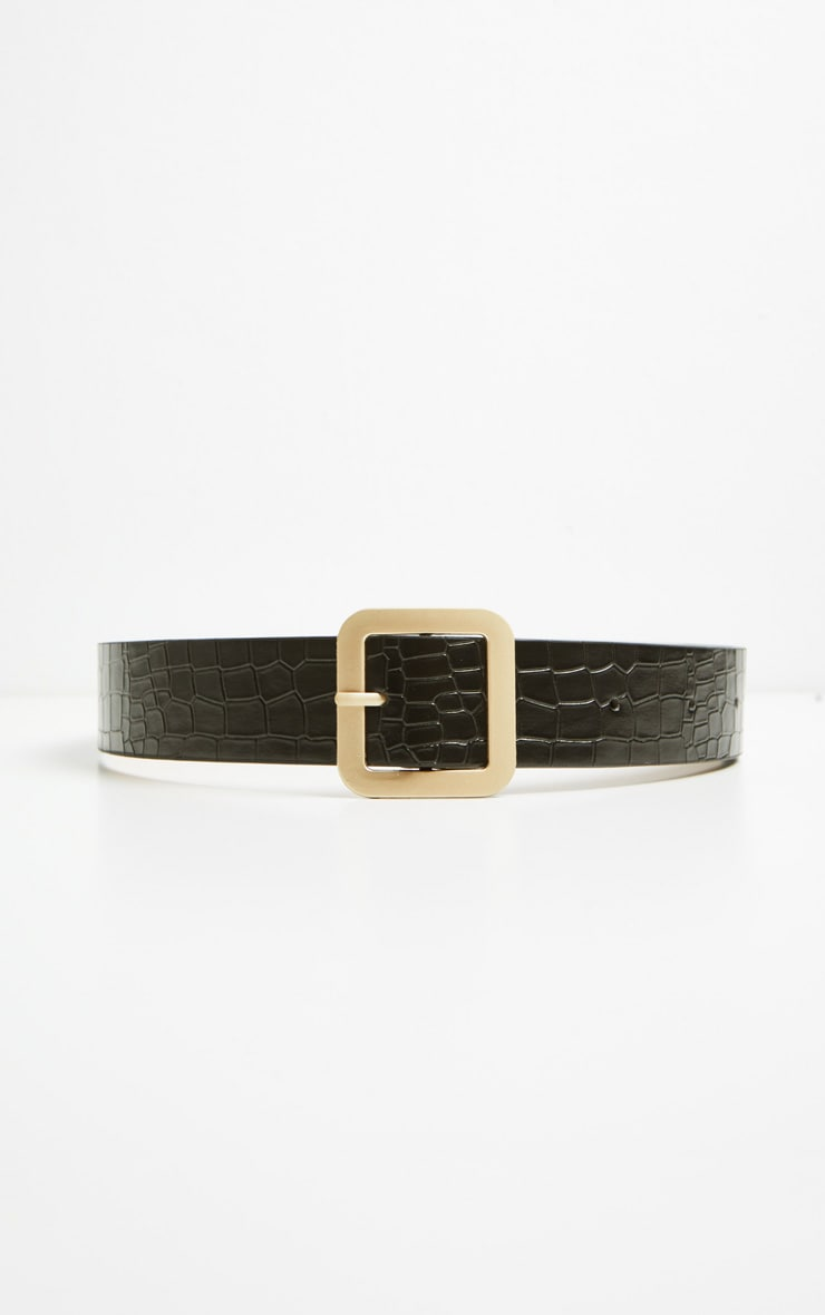 PRETTYLITTLETHING Logo Buckle Black Croc Belt 4