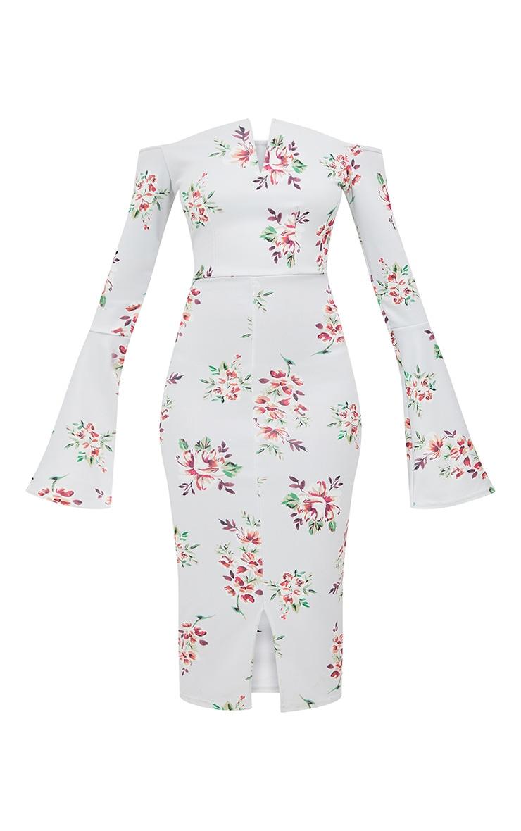 Grey Floral Bardot Flared Sleeve Midi Dress 3