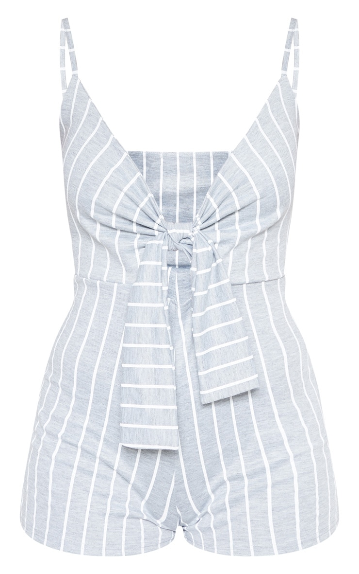 Grey Stripe Knot Detail Plunge Strappy Playsuit 3