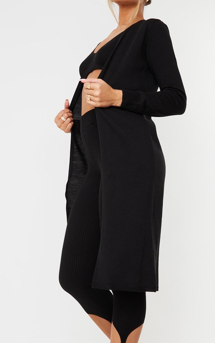 Black Knitted Longline Edge To Edge Cardigan 4