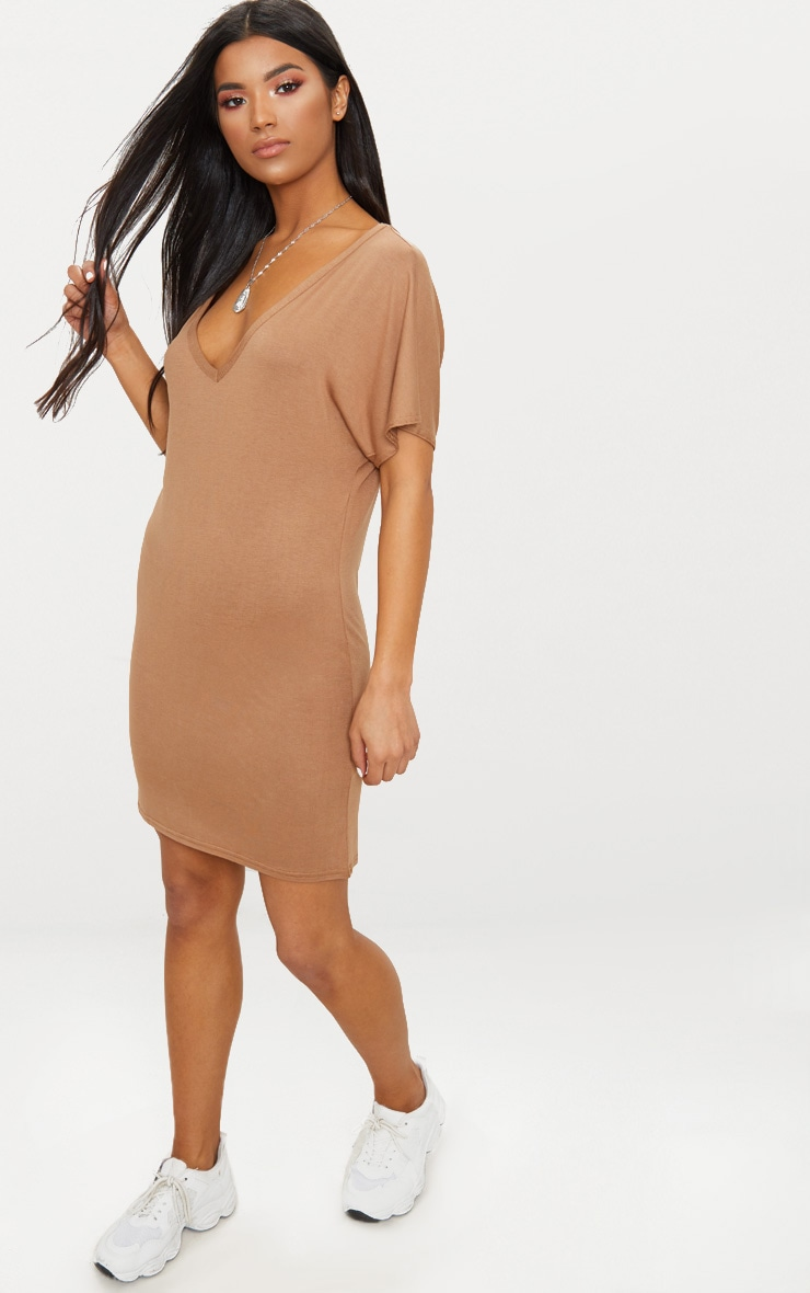 Basic Camel V Neck T Shirt Dress 4