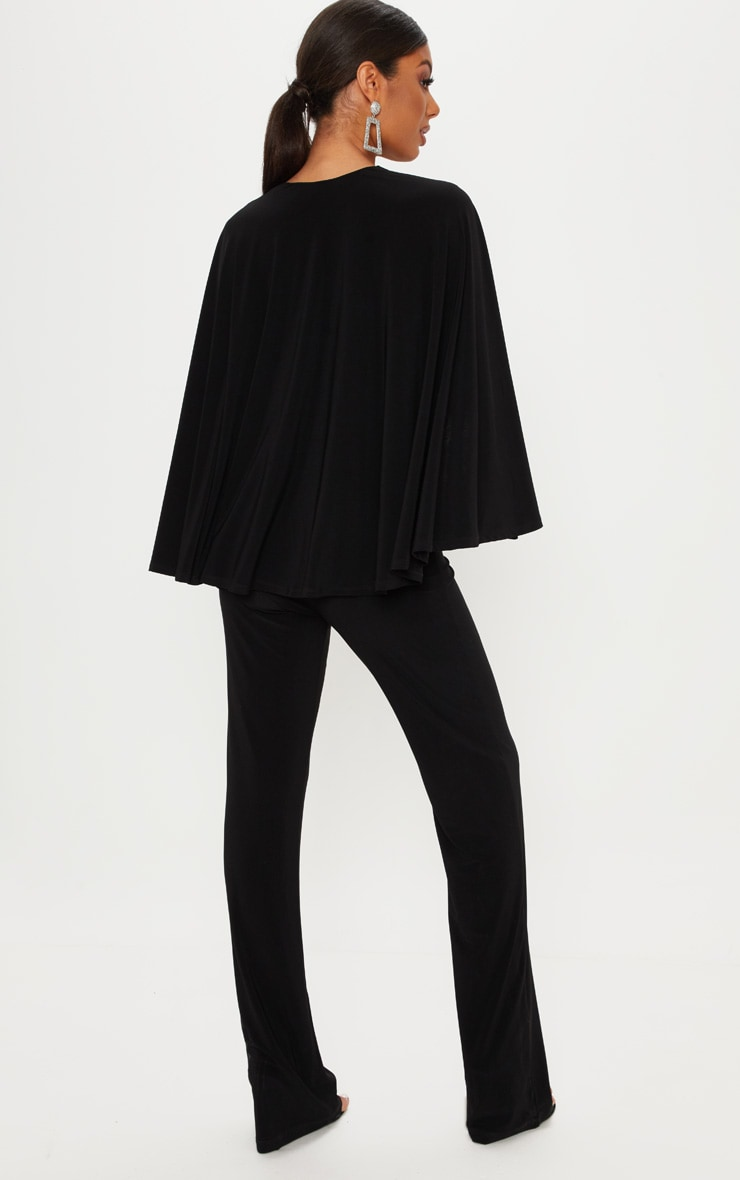 Black Plunge Cape Detail Wrap Jumpsuit 2