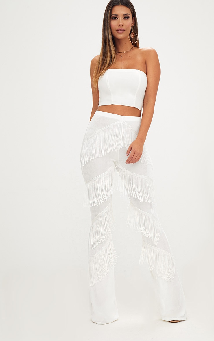 White Slinky Tiered Fringe Flared Trousers 1