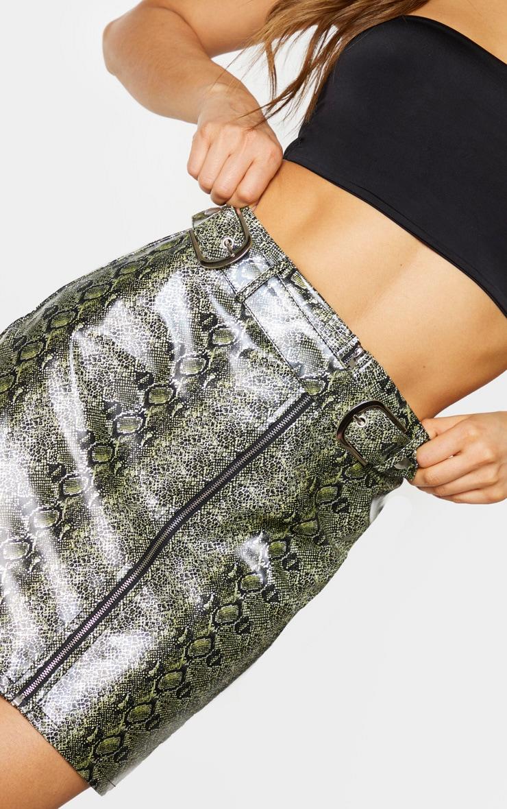 Tall Green PU Buckle Detail Snake Print Mini Skirt 6