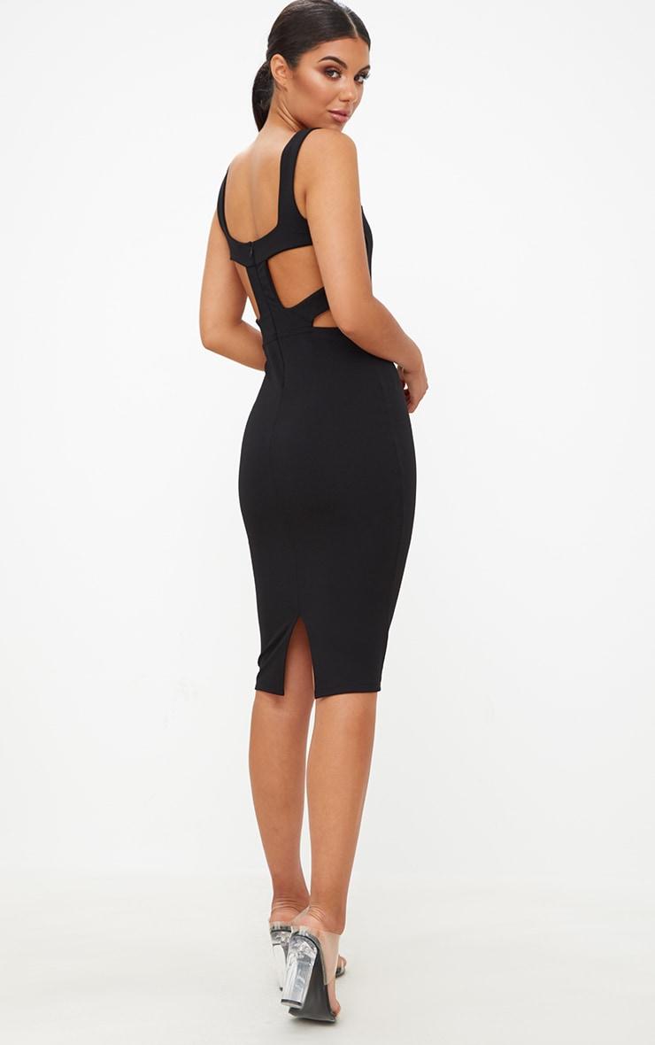 Black Cage Side Straight Neck Midi Dress 3