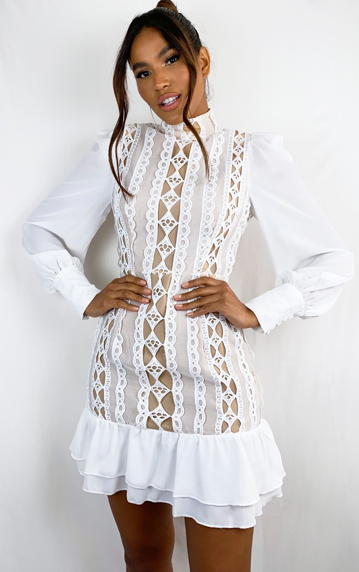 White Lace Trim High Neck Long Sleeve Bodycon Dress 1