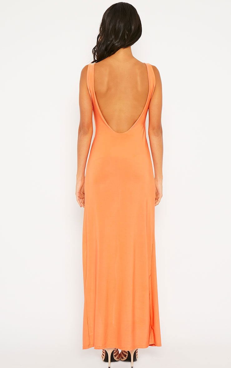 Dita Coral Slinky Extreme Gathered Split Maxi Dress 2