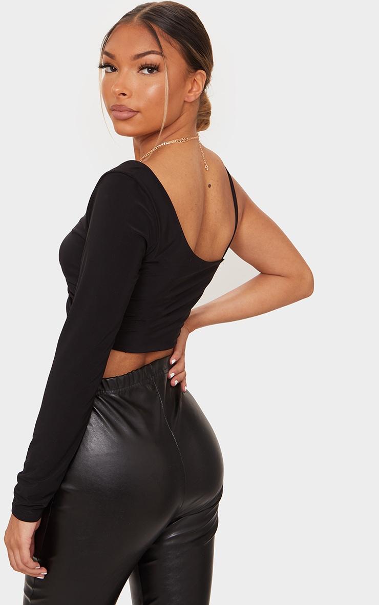 Black Slinky One Shoulder Drape Front Crop Top 2