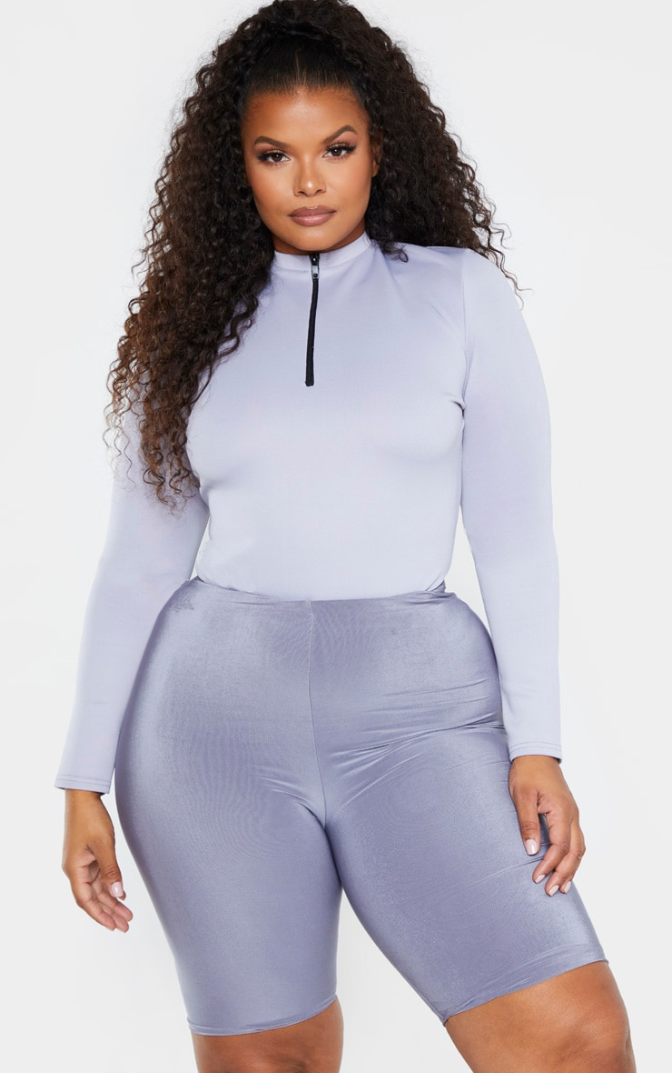 Plus Lead Grey Zip Detail High Neck Bodysuit 4