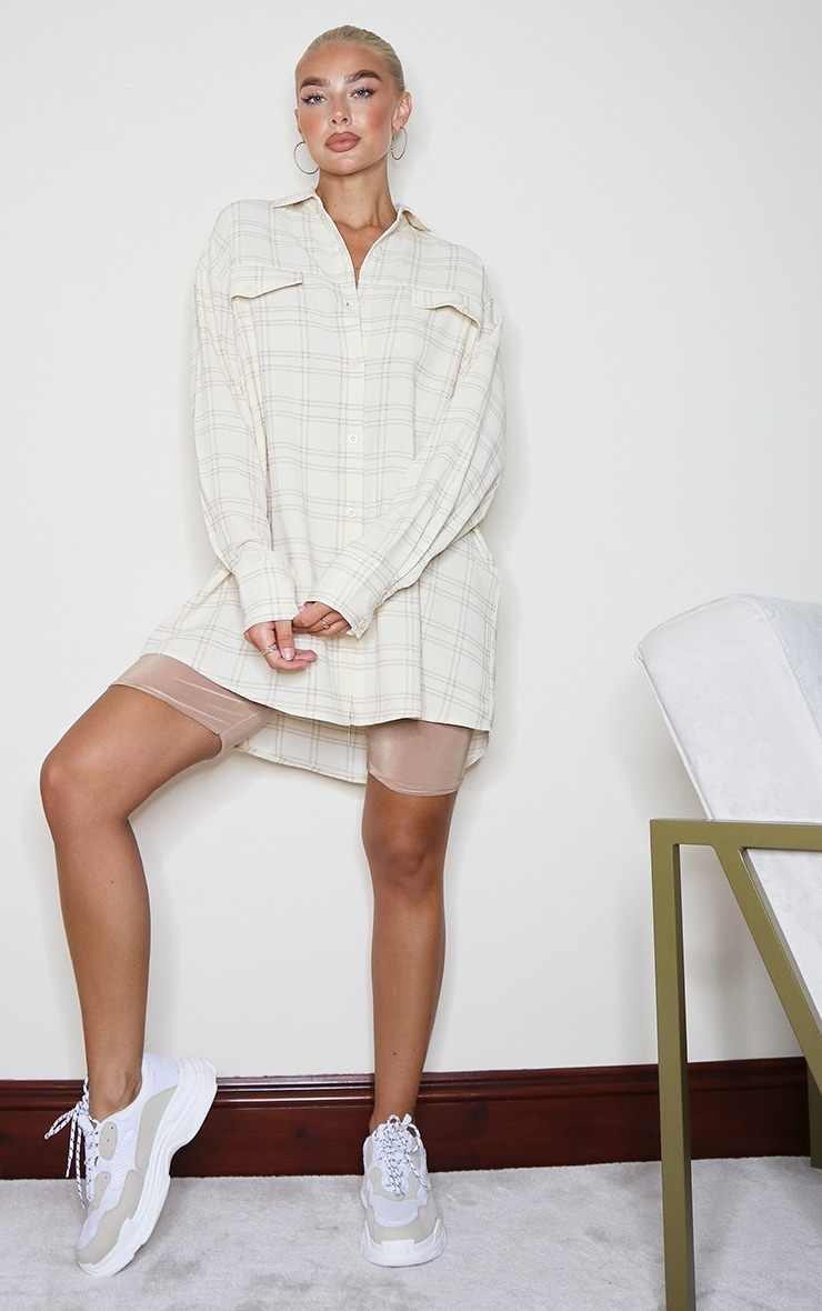 Cream Checked Oversized Shirt 3