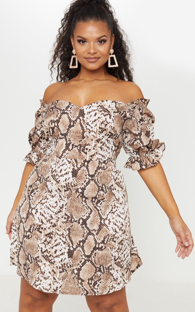 Plus Taupe Snake Print Puff Sleeve Shift Dress 1