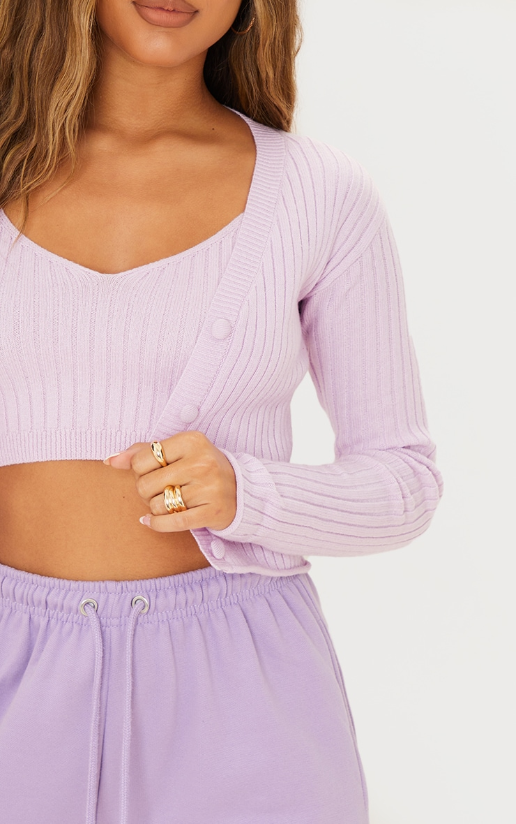 Lilac Soft Ribbed Knitted Button Up Cardigan 4
