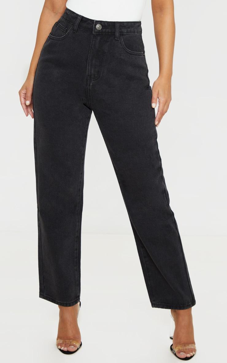 PRETTYLITTLETHING Petite Black Straight Leg Jeans 2