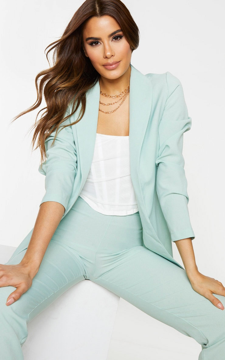 Tall Mint Oversized Longline Blazer 1
