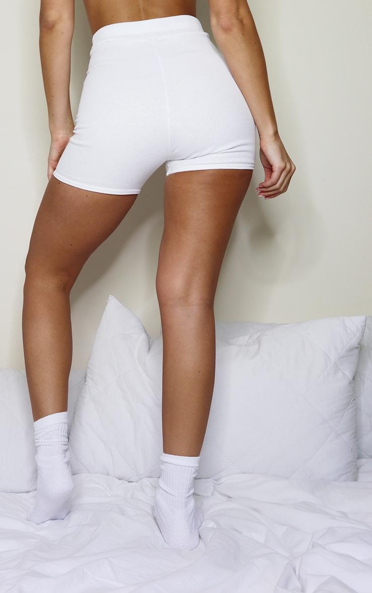Short-legging côtelé crème 3
