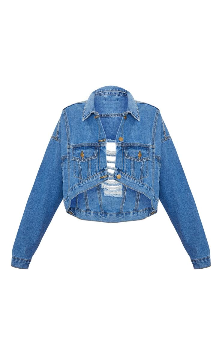 Mid Wash 4 Pocket Oversized Denim Jacket 3