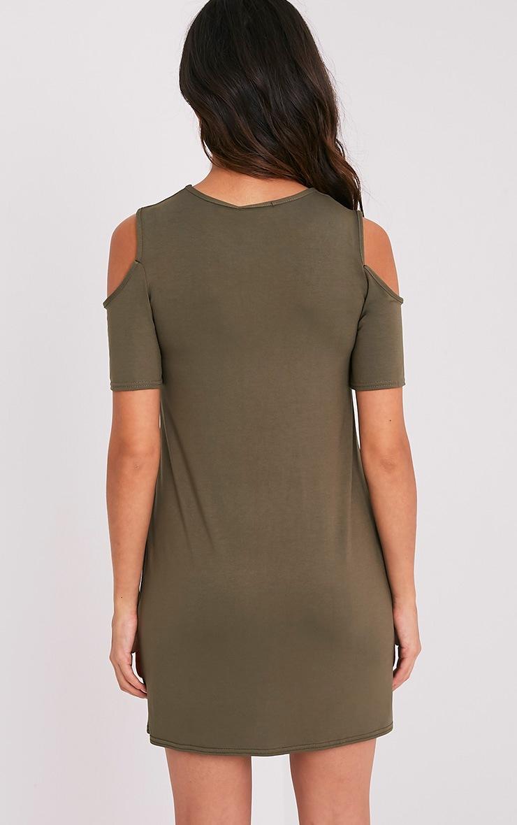 Neeka Khaki Cold Shoulder T-Shirt Dress 2