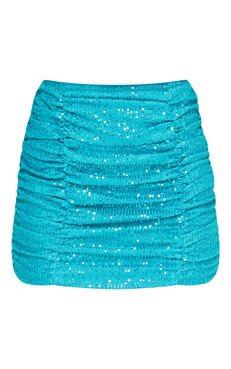Light Blue Sequin Ruched Double Seam Detail Mini Skirt 5