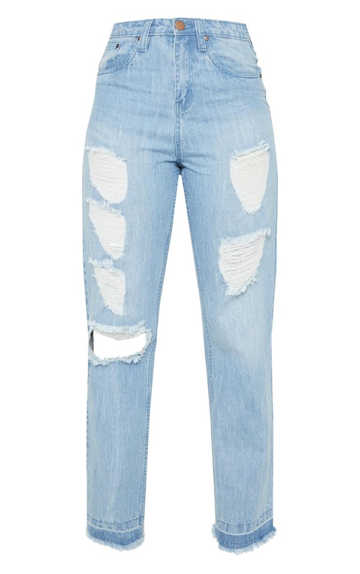 Tall Mid Wash Distressed Straight Leg Jean 3