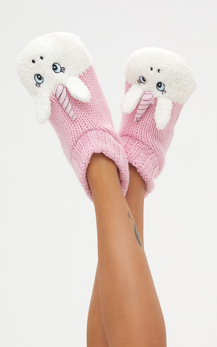 Pink Unicorn Slipper Socks 1