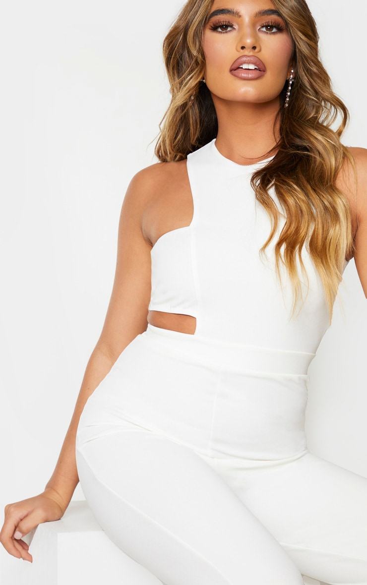 White Asymmetric One Shoulder Jumpsuit 4