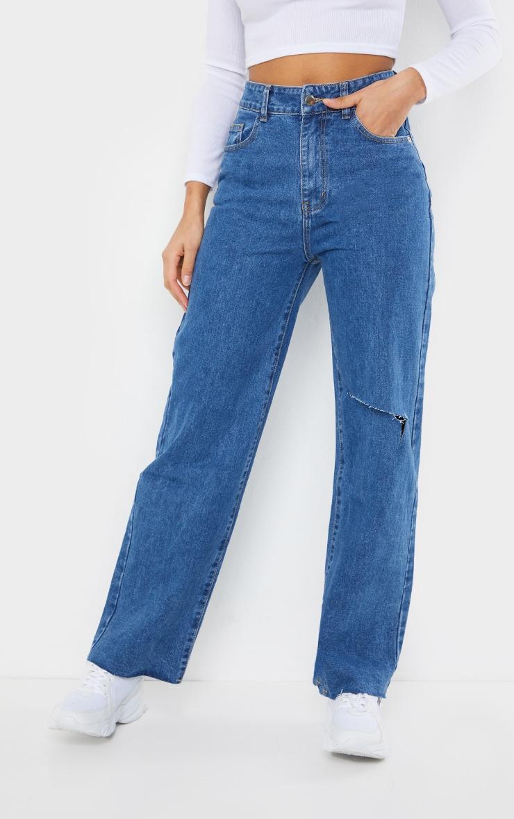 Mid Blue Wash Knee Rip Wide Leg Jean 2