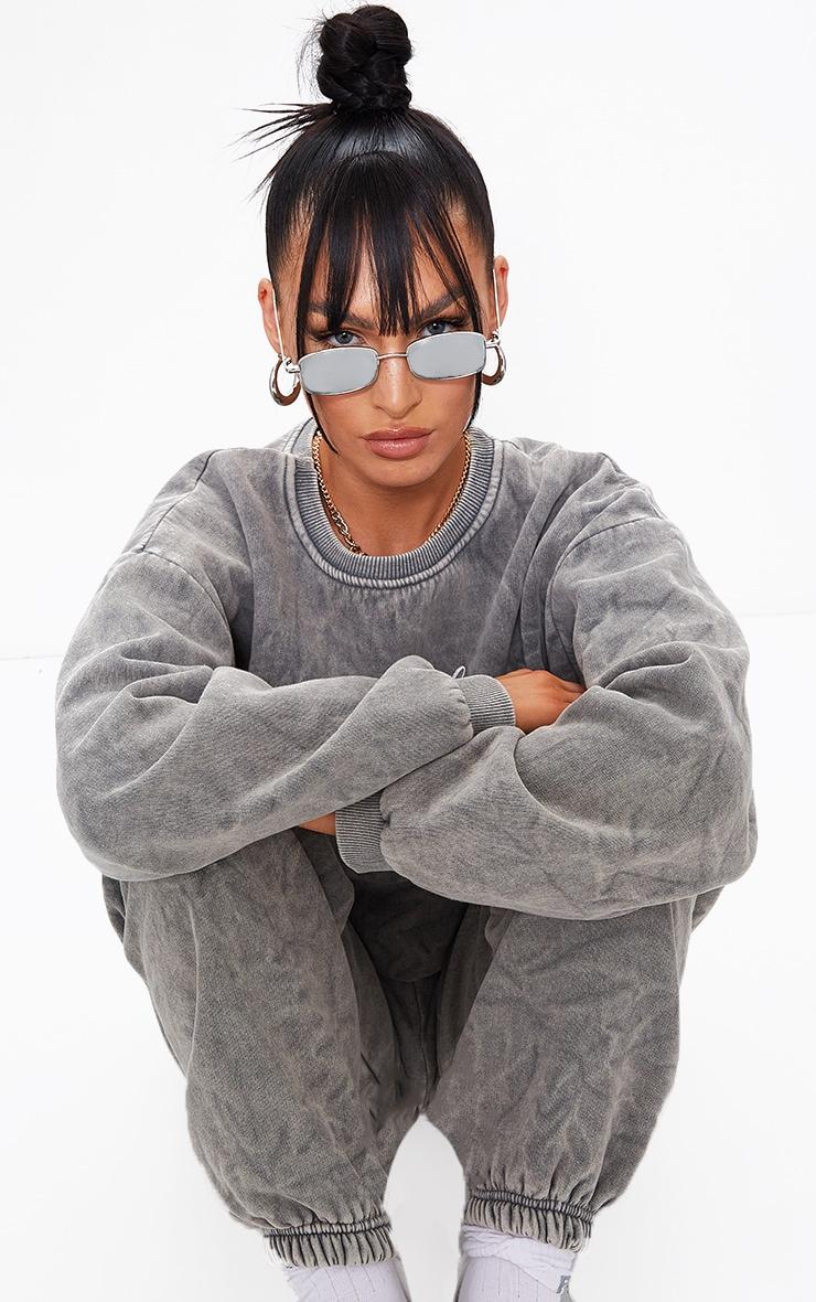 Silver Frame Revo Slim Rectangle Sunglasses 1