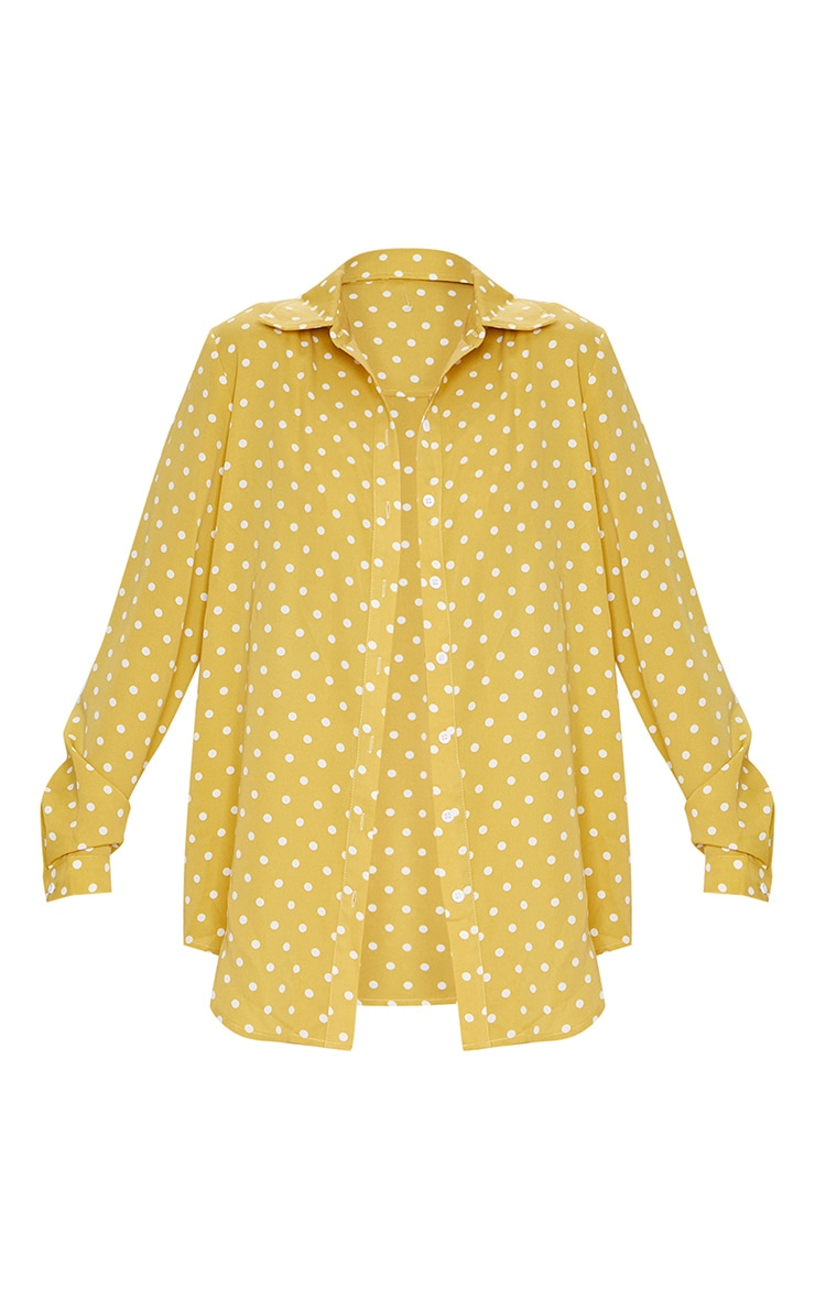 Mustard Polka Dot Printed Oversized Shirt 5