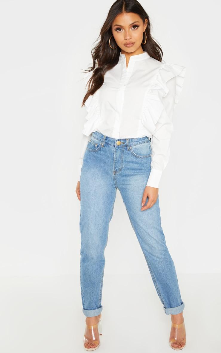 Petite White Frill Detail Long Sleeve Shirt  4