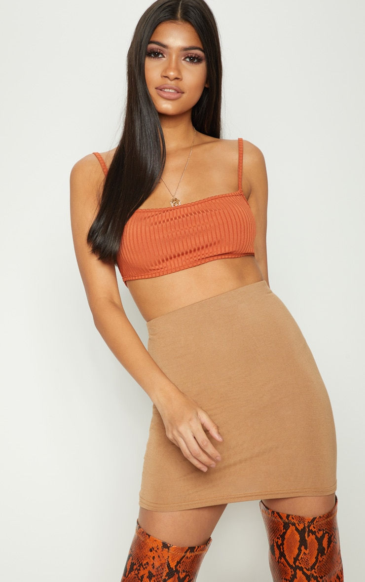 Burnt Orange Rib Strappy Back Bralet 1