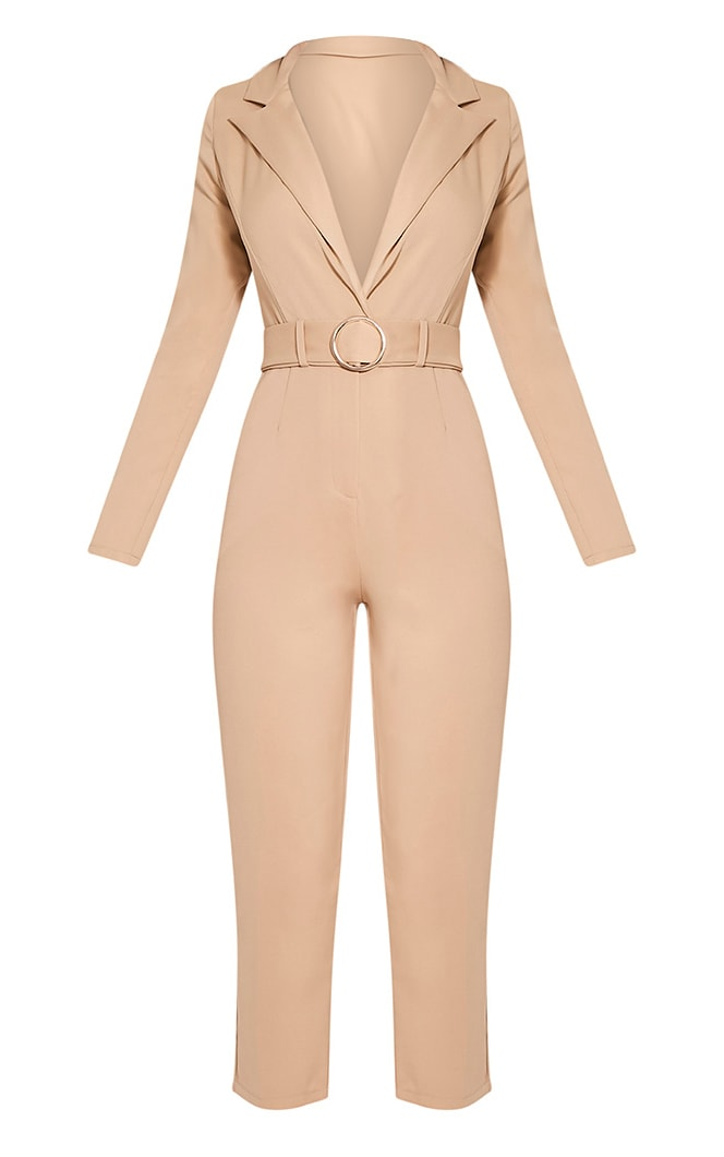 Mell Taupe Wrap Buckle Crop Jumpsuit 3