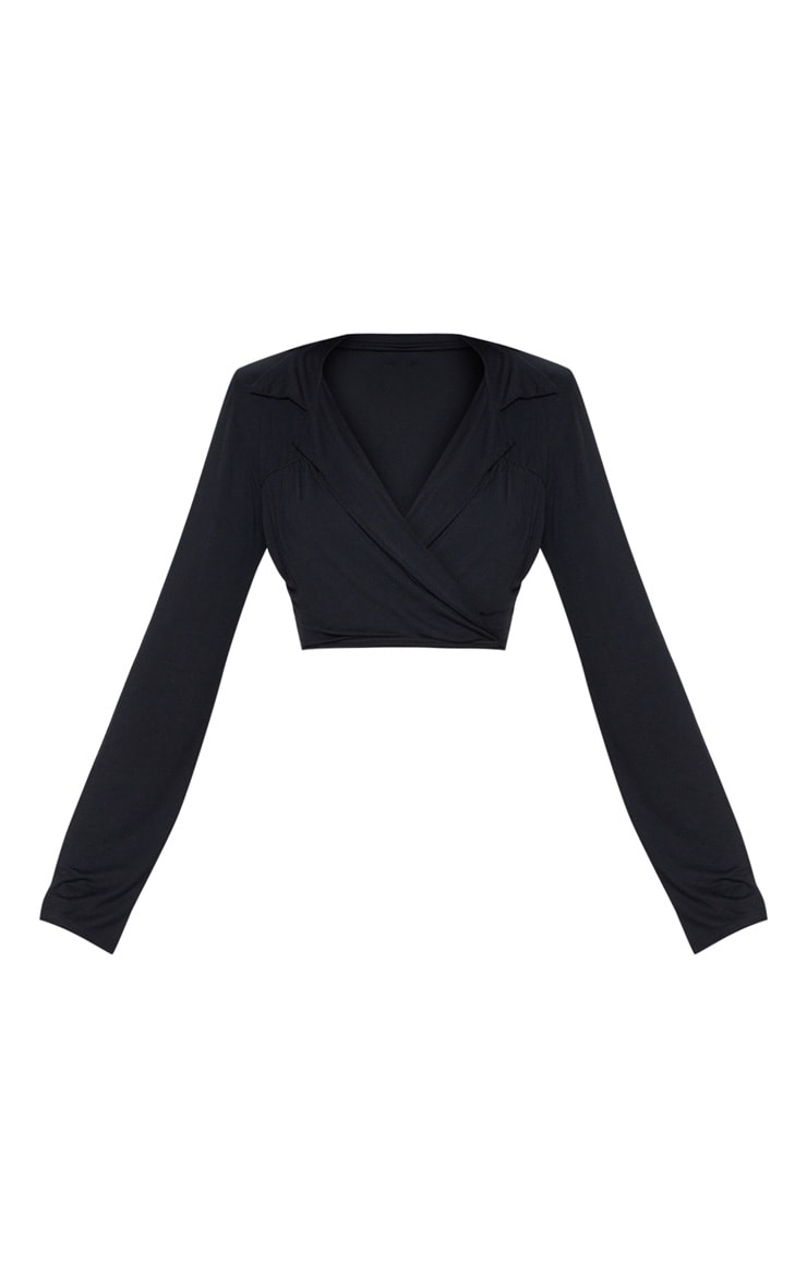 Black Jersey Wrap Front Crop Shirt 3