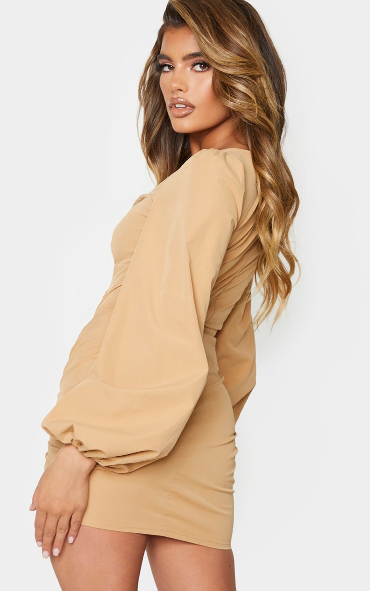 Stone Long Sleeve Sweetheart Neck Ruched Bodycon Dress 2