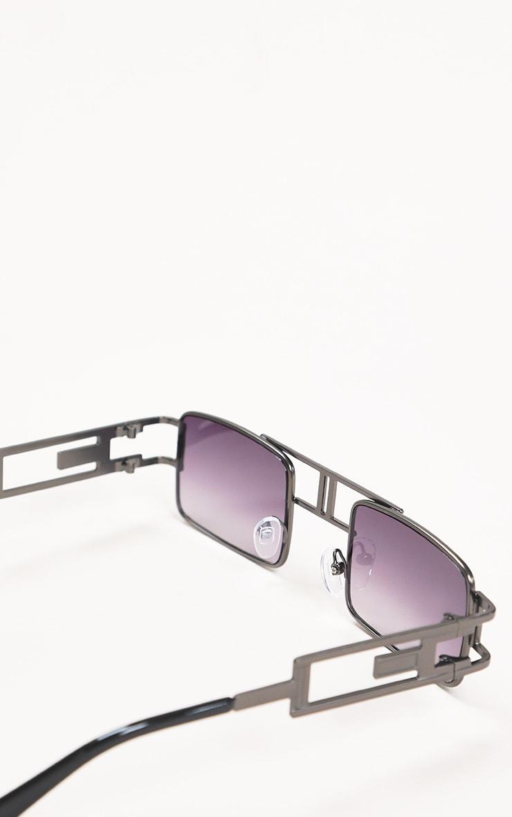 Black Trim Double Bar Faded Sunglasses 3