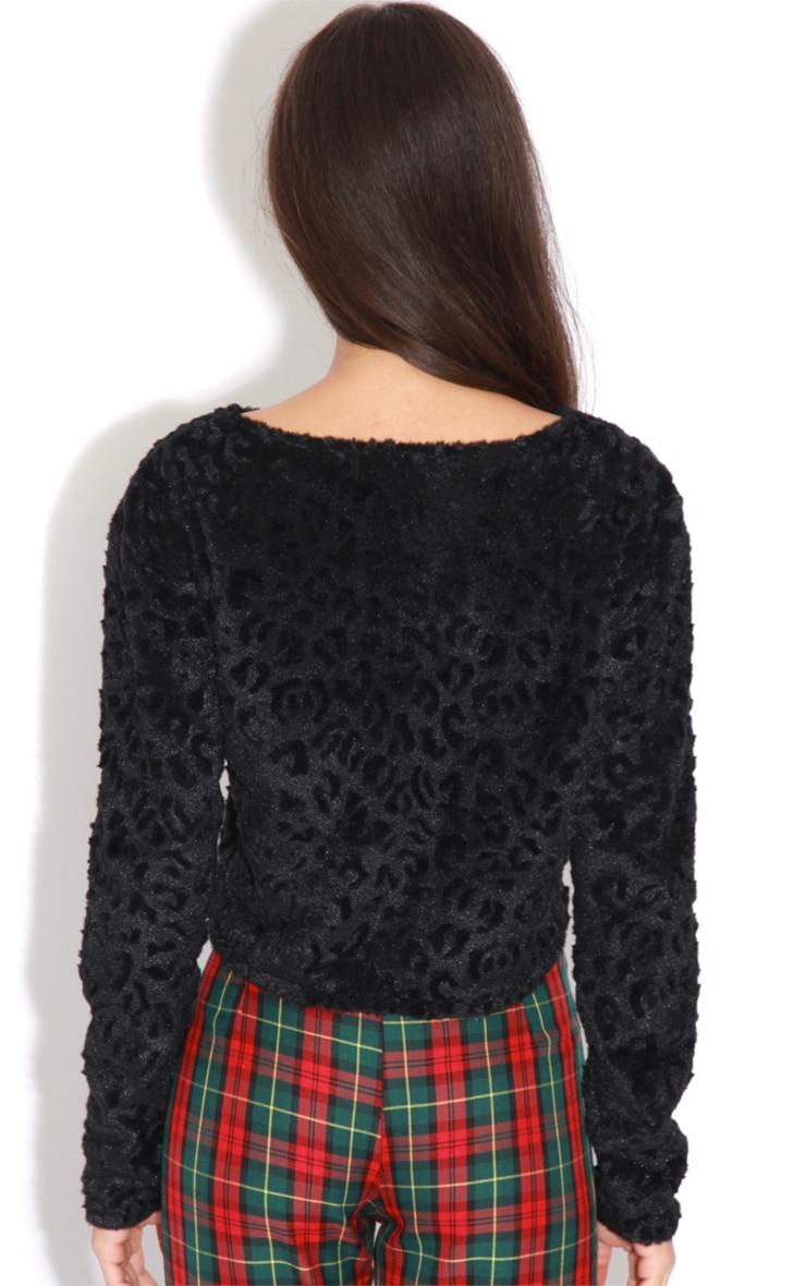 Ava Black Velvet Leopard Print Fur Jumper 2