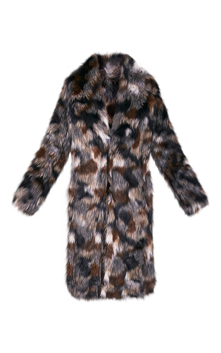 Georgiana Premium manteau long en fausse fourrure multicolore 3