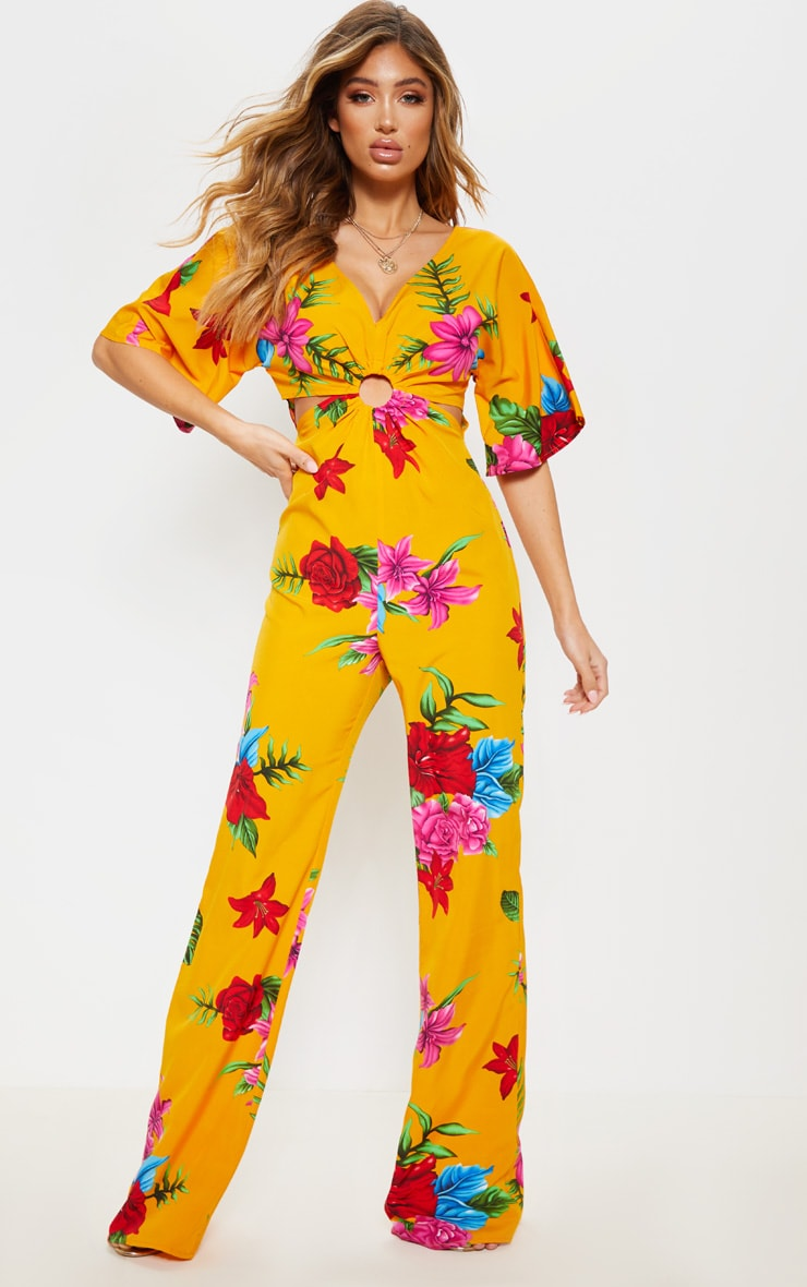 Yellow Floral Ring Detail Cut Out Jumpsuit 1