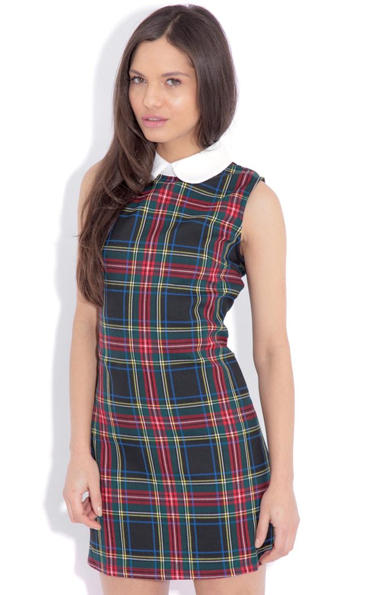 Arabella Green Tartan Mini Dress  4