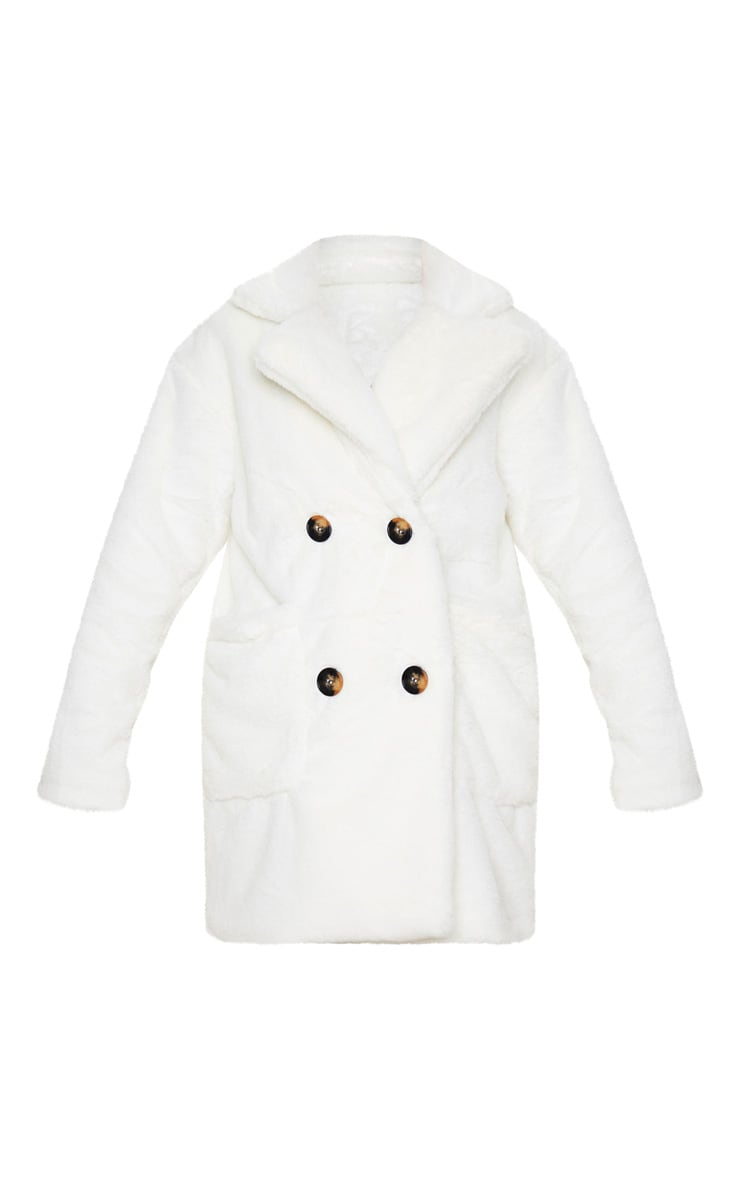 Cream Faux Fur Double Breasted Button Detail Coat 3