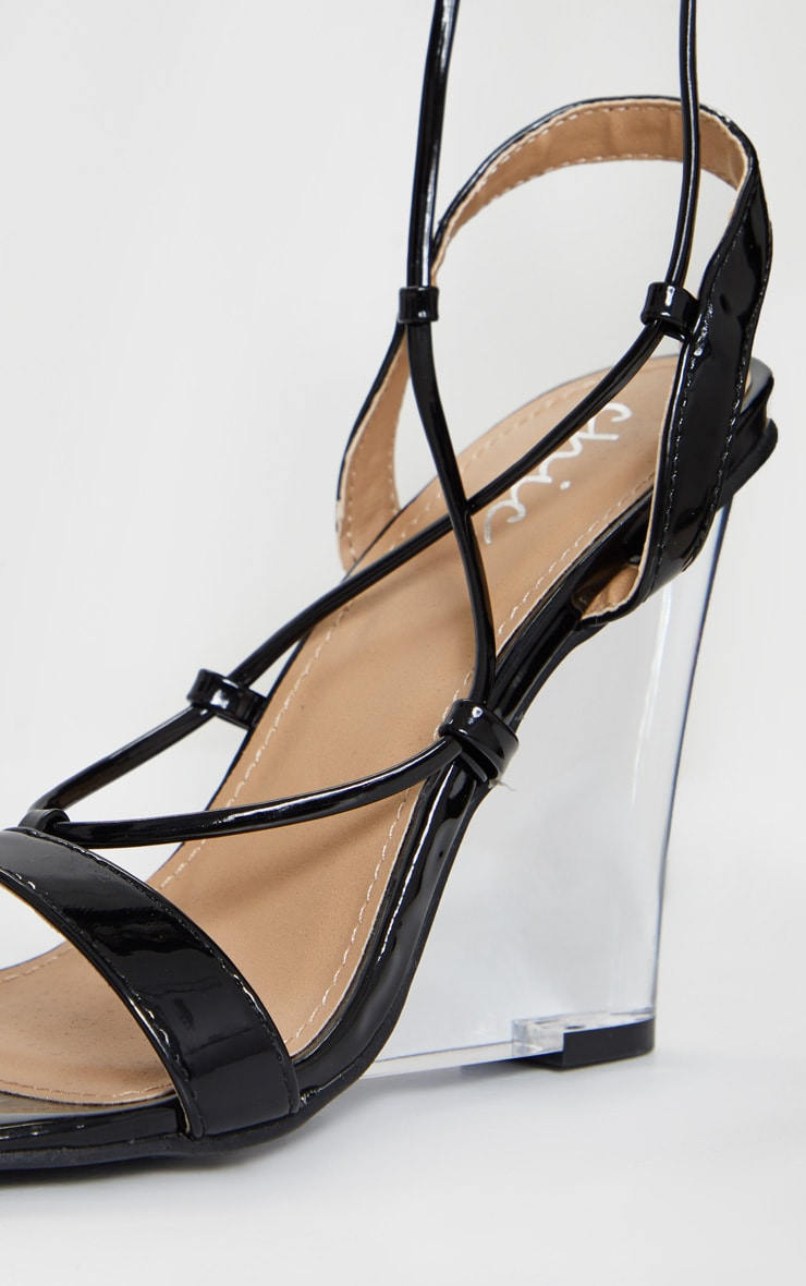 Black Lace Up Clear Wedges 4