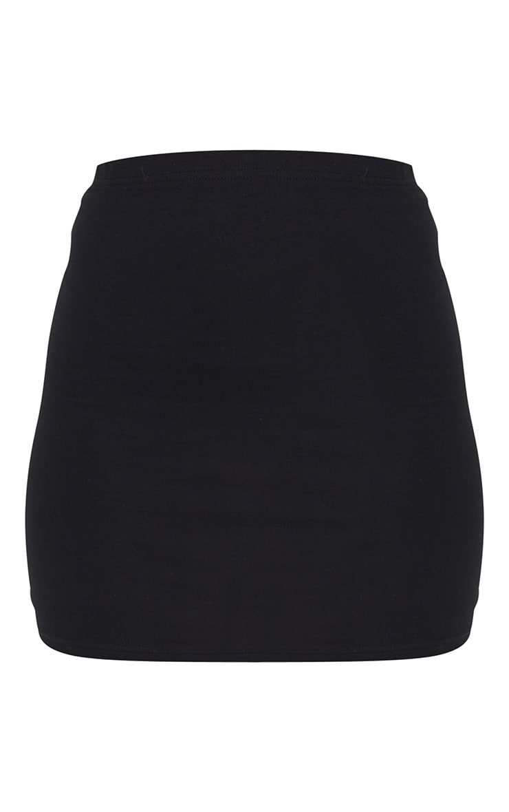 Black Essential Cotton Blend Jersey Mini Skirt 6