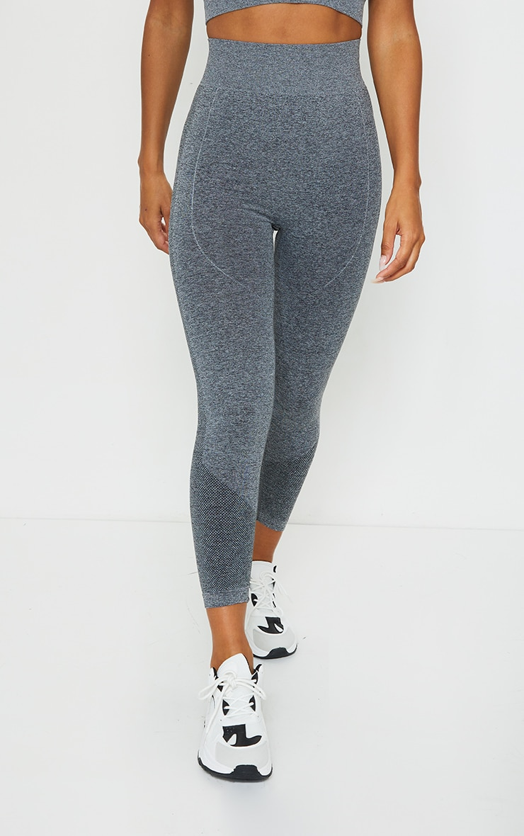 PRETTYLITTLETHING Grey Marl Contour High Waisted Seamless Leggings 2