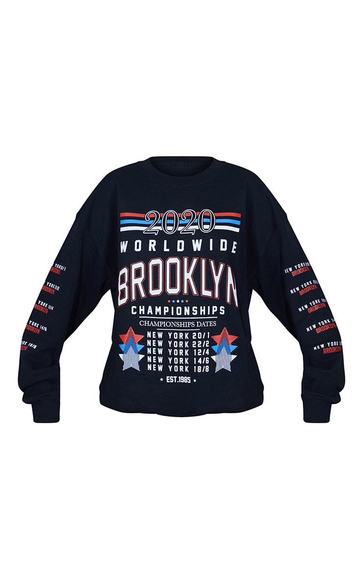 Black Brooklyn Worldwide Arm Slogan Printed Sweatshirt 5