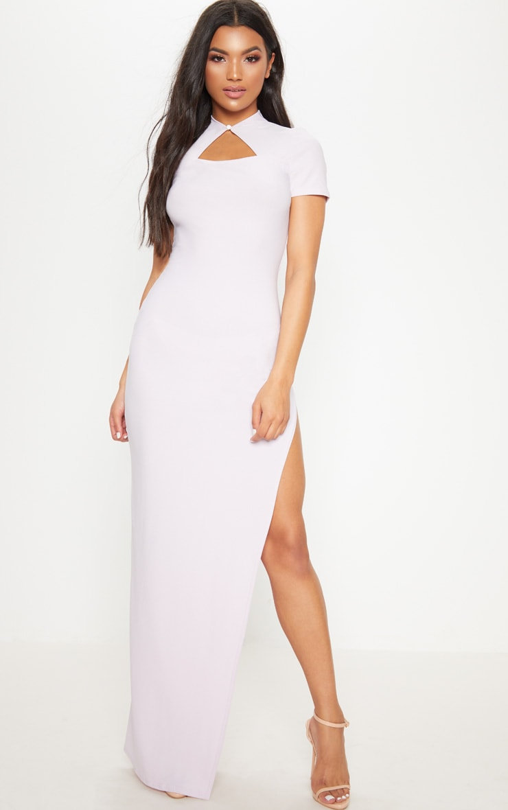 Lilac Oriental Cut Out Detail Maxi Dress