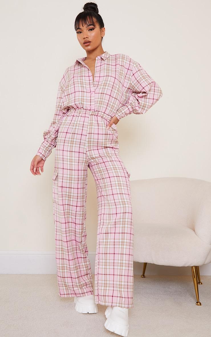 Pink Check Pocket Wide Leg Shirt Jumpsuit 1