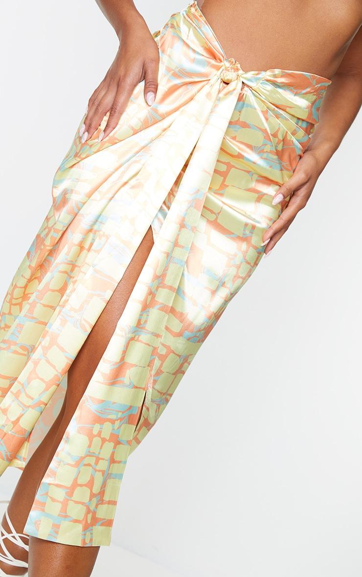 Orange Abstract Printed Wrap Tie Midi Skirt 4