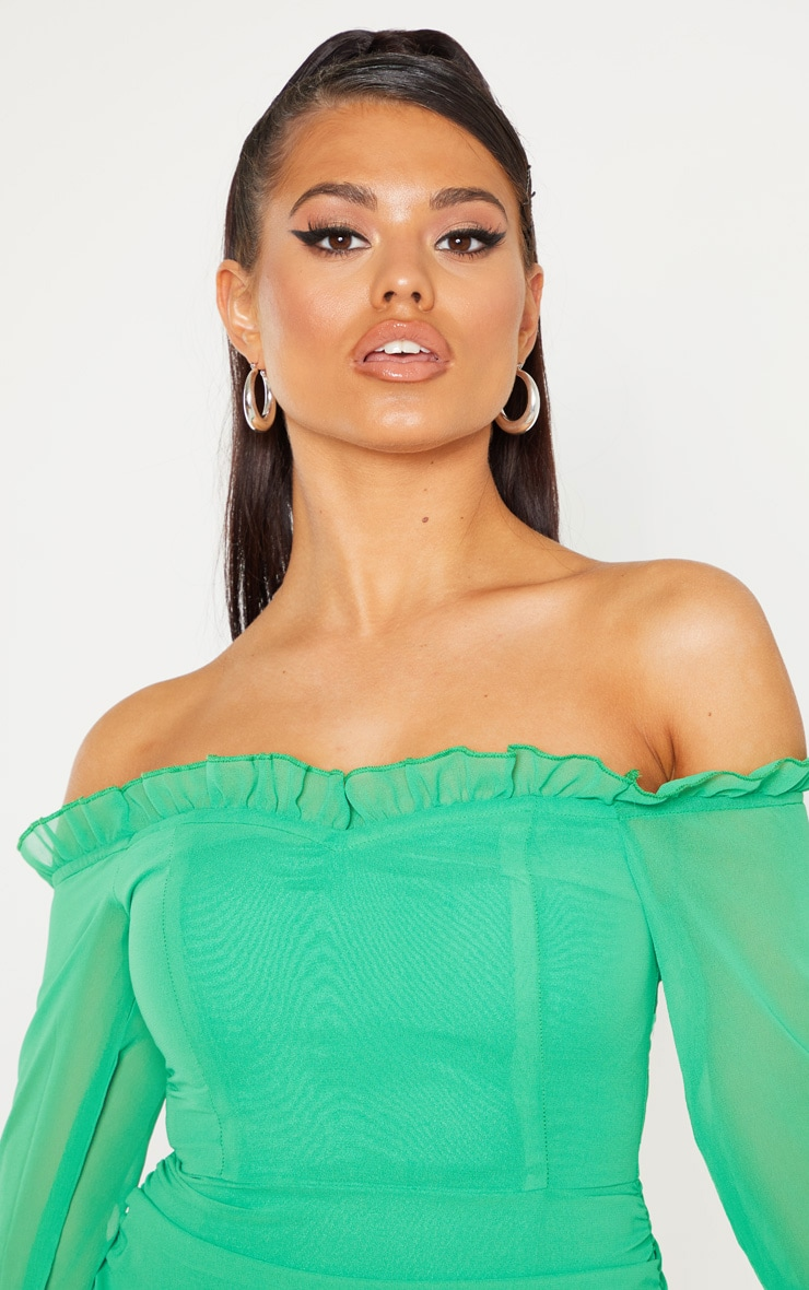 Petite Bright Green Bardot Frill Detail Ruched Dress 4
