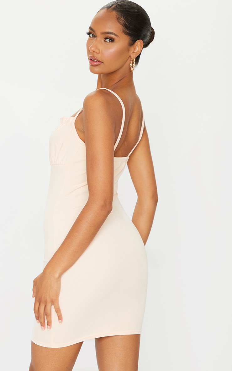 Nude Ruched Bust Strappy Bodycon Dress 2