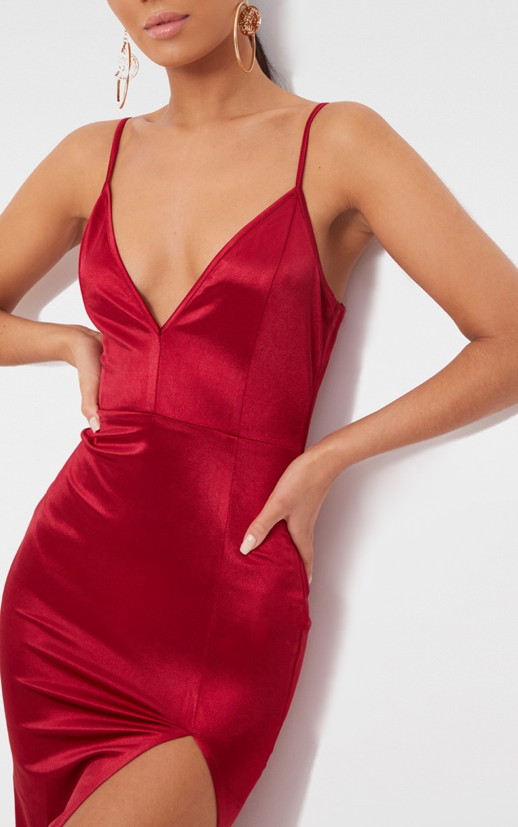 Dark Red Satin Extreme Split Plunge Midi Dress  5