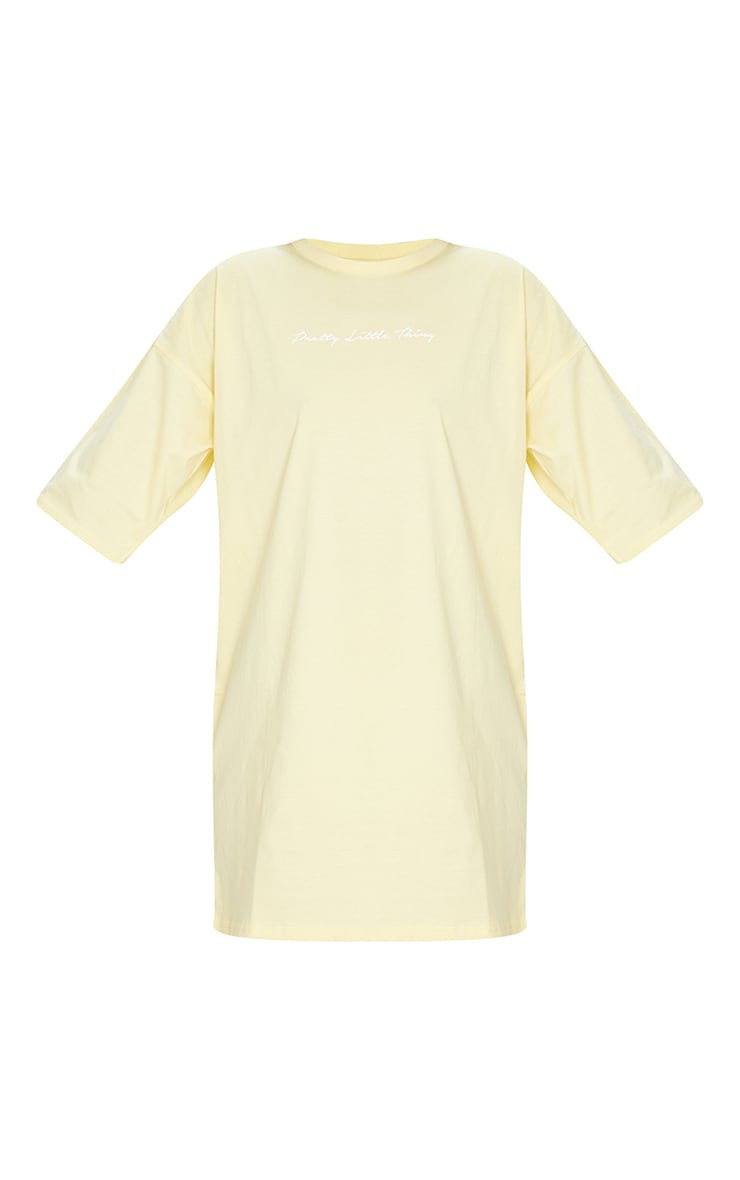 PRETTYLITTLETHING Yellow Slogan Oversized Boyfriend T Shirt Dress 5
